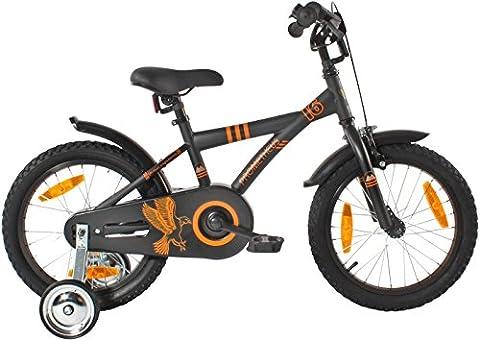 """PROMETHEUS Vélo enfant pour fils 16 pouces en noir mat & orange avec petites roues   Frein à tirage et frein à rétropédalage   à partir de 5 ans   16"""" BMX Edition 2017"""