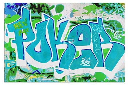 BILD AUF LEINWAND POKER STREETART TÜRKIS living A04350 DEKOR Größe wählbar, gerahmt auf echtem Keilrahmen. Günstiger als Ölbild Gemälde Poster Plakat mit Bilder 60 x 40 cm