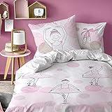 Bailarina niña Juego de cama · Kleine bailarinas · Reversible Diseño con Lunares y corazones · Color Rosa-Almohada 80x 80+ Funda Nórdica 135x 200cm-100% algodón