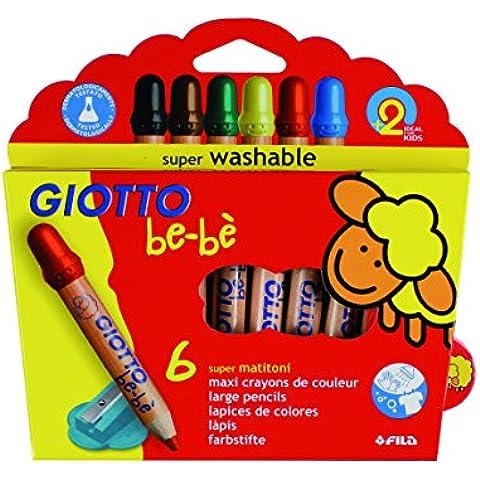 Giotto be-bè 466400 - Estuche 6 lápices de colores, (mina de 7 mm diámetro, capuchón posterior de seguridad anti-mordedura, anti-hogo y sacapuntas),