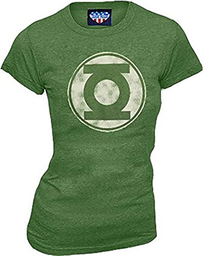 Junk Food Green Lantern Kelly grün Distressed Logo Junior T-Shirt (Junior X-Large) (Food Junior Shirt-junk)
