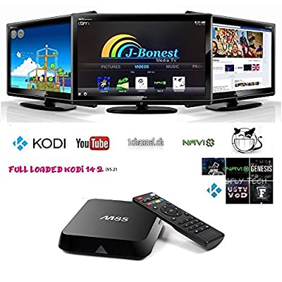 J-Bonest 2+8G Quad Core Android 4.4 Smart HTPC 4K 1080P Hdmi Android TV BOX Mini PC Streaming Media Player S812 M8S with Free KODI(XBMC) 15.2 Wifi Stream Fully Loaded Home Entertainment Support Hardware Decoding