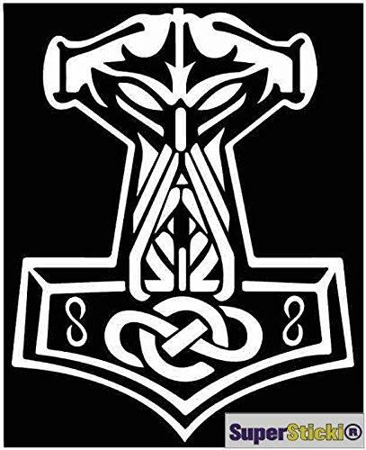 Thors Hammer Odin Gesicht Wikinger Viking ca 15 cm Tuning Racing Rennsport Motorsport Deko Rennen aus Hochleistungsfolie Aufkleber Autoaufkleber Tuningaufkleber von SUPERSTICKI® aus Hochleistungsfolie für alle glatten Flächen UV und Waschanlagenfest Tuning Profi Qualität Auto KFZ Scheibe Lack Profi-Qualität Tuning