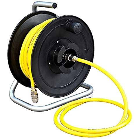 SIP 20 Metre Floor Mounted PVC Portable Air Hose and Reel with Euro Type Quick Coupler Hose Fitting and Carry Handle