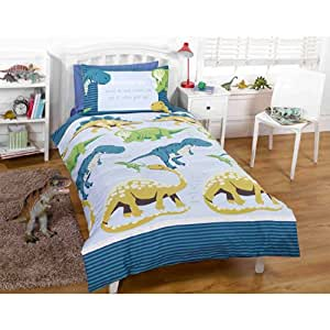 Just Contempo Boys Dinosaur Duvet Cover Kids Quilt Cover White Green Blue Bedding Bed Set