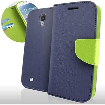 Engive Samsung Galaxy S4 i9500 Ledertasche Leder Tasche Hülle Etui leather Case Schutzhülle Cover Schale Handytasche Schutztasche Oberschale Gehäuse Geldbeutel Flip Wallet ((Blau / Grün))