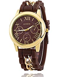 f5263efa52d Geneva Analogue Gold Dial Fashion Bracelets Silicone and Stainless Steel  Band Chain Women s Watch
