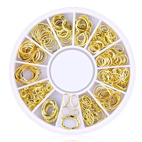 Isuper Belleza 200 Conteo / 3D Pack Mini Nail Art Nail Supplies Stud Stickers Glitter metal con encanto de moda de bricolaje Uñas Decoración Serie redonda Hollow