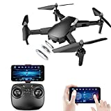 LOVEWO 1080p Drone, 2.4ghz Remote Control 100m Vier-Achsen-Faltung 1800mah Flight 18 Minutes Bild Follow App Mobile Phone Operation (ohne Handy),Black