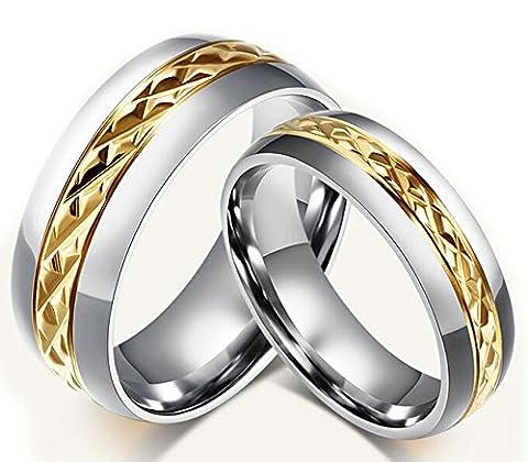 Epinki Herren Ringe, Trauringe Edelstahl Herrenringe Für Paare Silber Gold Ringe Weizen Streifen Eheringe Ring 62 (19.7) (Prinzessin Set Manschettenknöpfe)