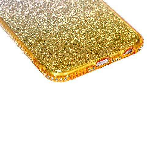 Coque iPhone 6S Plus,Coque iPhone 6 Plus,Étui iPhone 6S Plus / 6 Plus Case,ikasus® Layer 3 Crystal Clear dur PC & Souple Gel TPU & Glitter Stickers Case Cover Coque pour iPhone 6S Plus / 6 Plus Silico Or