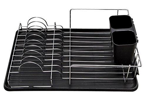 EURO HOME Deluxe Chrome Dish Drainer, Black