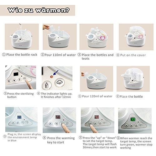 4 in 1 Flaschenwärmer, Bimirth warme Milch Sterilisation mit Heizung, wärmer, Elektro-Dampf-Sterilisation und Lagerung für Food Bottle Trocknung - 4