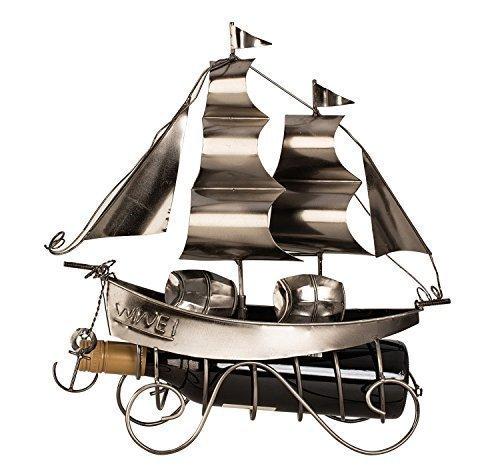 Extravaganter Wein Flaschenhalter Segelschiff aus Metall Höhe 38,5 cm
