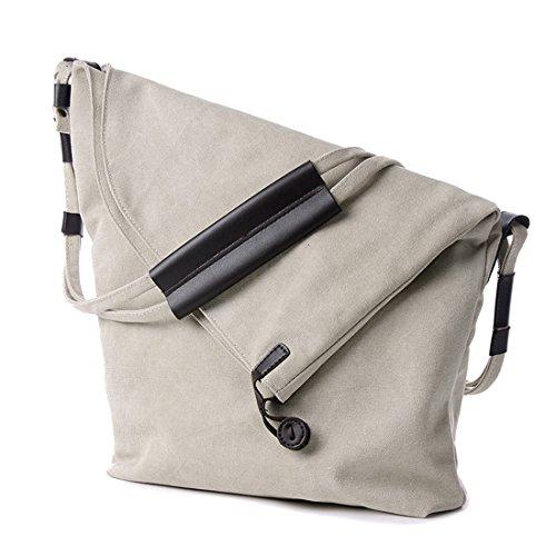 iTECHOR Pelle donne decorazione della tela di canapa Crossbody Messenger Bag Borsa a tracolla - Grigio Beige