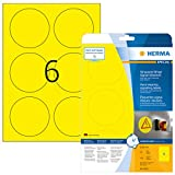Herma 8035 Wetterfeste Folienetiketten rund, gelb (Ø 85 mm) 150 Aufkleber, 25 Blatt A4 Klebefolie matt, bedruckbar, stark selbstklebend