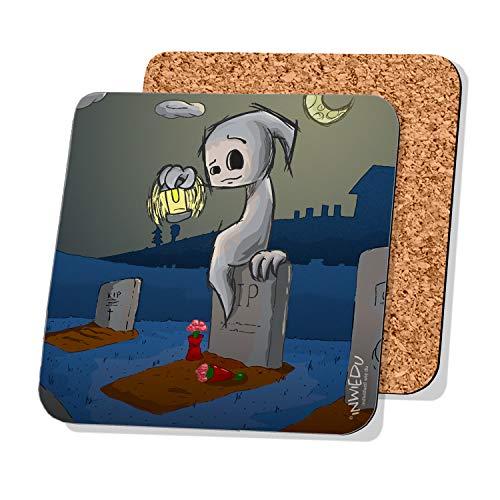 INWIEDU - Happy Halloween Kleiner Geist Untersetzer - MDF mit Kork Rückseite - Größe 95 x 95 x 3 mm