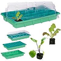 Relaxdays, Verde, Semillero de Germinación con 24 Compartimentos para Terraza, Jardín e Interior, 38 x 24,5 cm