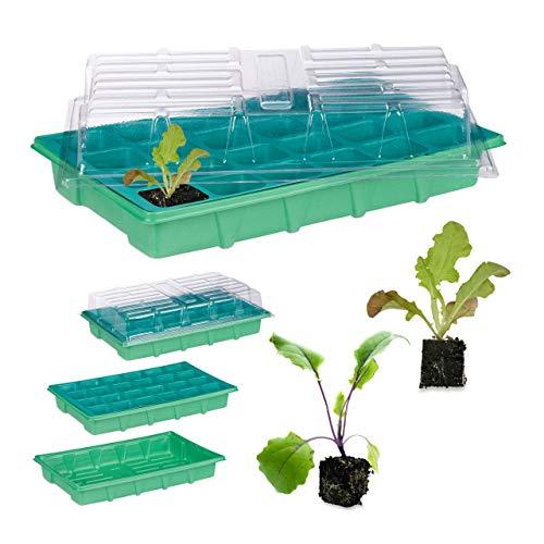 Relaxdays, grün Zimmergewächshaus 24 Pflanzen, Deckel, Mini Gewächshaus, Fensterbank, Balkon, Anzuchtschale 38 x 24,5 cm, 1 Stück