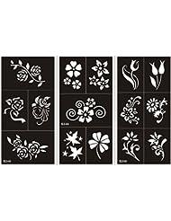 Mehndi Tatouage Pochoir pour le corps Mehndi Tatouages au henné s248 - 250 - à usage unique - 3 pièces - pour tatouage au henné, tatouage paillettes et aérographe tatouage