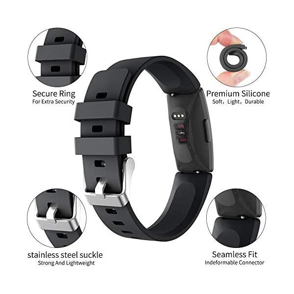 Ownest Compatible con Fitbit Inspire& Inspire HR Fitness Tracker Banda, Ajustable Suave Silicona Mujeres Hombres Correa… 2