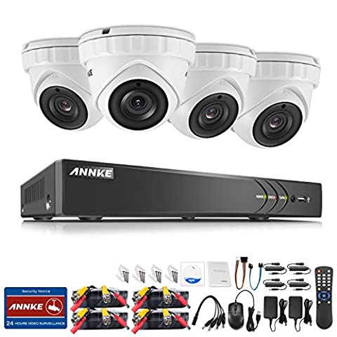 ANNKE Video DVR 3MP 8CH Security Camera System with 5-in-1 DVR Kit and (4) White Dome Camera HD IP66 weatherproof Indoor&Outdoor Cameras,NO