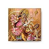 YaYa cafe Maa Durga Mahishasur Vadh Canvas Wall Clock Decor, Divine Religious Navratras Diwali Gifts Durga Puja - 8x8 inches