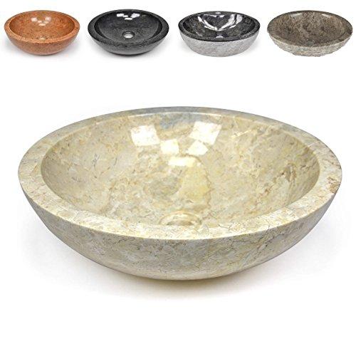 DIVERO Naturstein Aufsatz-Waschbecken Modena Handwaschbecken Waschschale Marmor Stein poliert rund beige creme