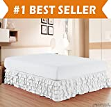 Elegant Comfort Luxurious Premium Quality 1500 Thread Count Wrinkle and Fade Resistant Egyptian Quality Microfiber Multi-Ruffle Bed Skirt - 15inch Drop, Twin, White