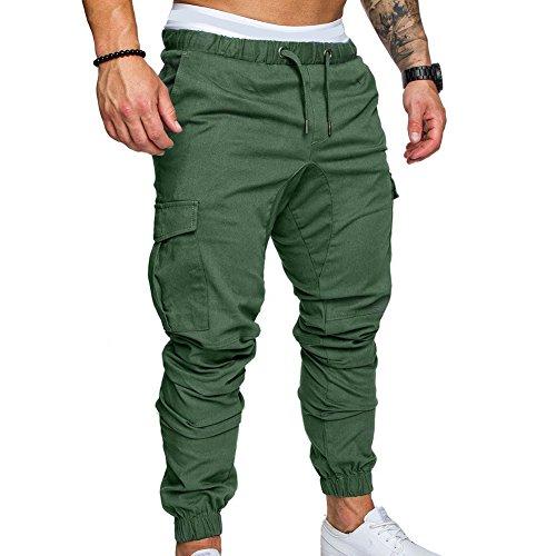 Pantaloni Lunghi per Uomo Lavoro Casuale Pantalone con Coulisse Moda a Vita Media Slim Tacksuit Pantaloni Abbigliamento da Lavoro
