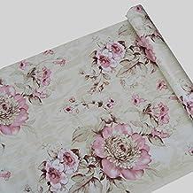 Papel pintado flores vintage for Papel autoadhesivo decorativo