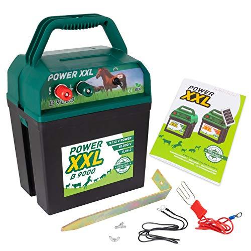 Power XXL B 9.000 Effektives Weidezaungerät 9V/12V Elektrozaungerät für einen sicheren Weidezaun, Pferd, Pony, Rind