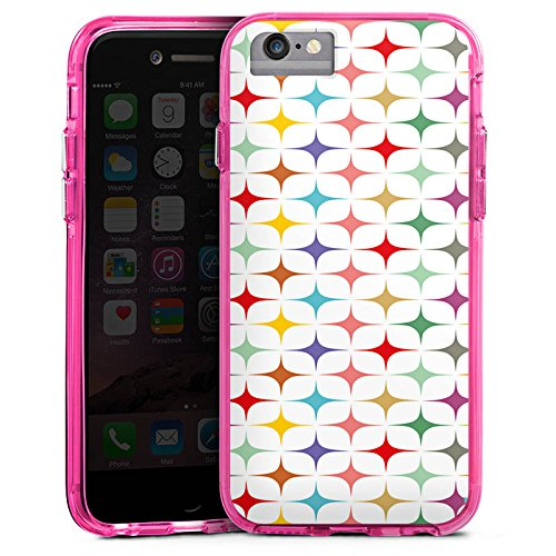 Apple iPhone 8 Bumper Hülle Bumper Case Glitzer Hülle Retro Vintage Bunt Bumper Case transparent pink
