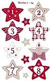 1 Sachet de Stickers de Noël - Chiffres pour Calendrier de l'avent Etoiles
