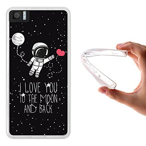 Bq Aquaris M4.5 / A4.5 Hülle, WoowCase Handyhülle Silikon für [ Bq Aquaris M4.5 / A4.5 ] Astronaut Herz - I Love To the Moon And Back Handytasche Handy Cover Case Schutzhülle Flexible TPU - Transparent