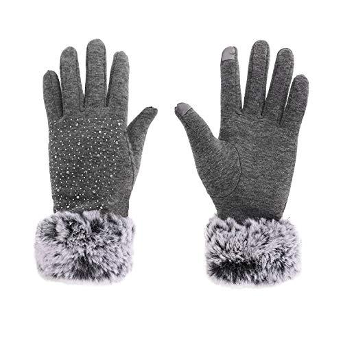 YJZQ Touchscreen Handschuhe Damen Winter Handschuhe warm Laufhandschuhe Winddicht Sporthandschuhe Outdoor Gloves für Smartphone