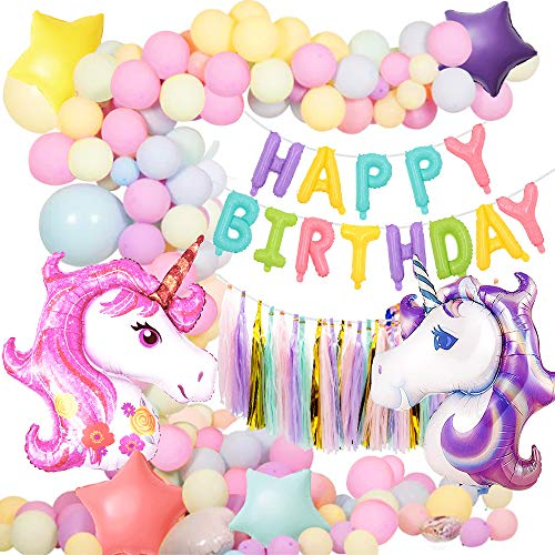 Unicorn Party Decoration Unicorn Birthday Supplies,MMTX Huge Unicorns Macaron Party Balloons Set Birthday Balloons Banner Tassel for Infant Girl Adults Birthday Decoration Baby Shower Wedding Party