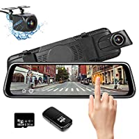 Shayson Mirror Dash Cam 1080P Full HD Dual Lens 10 inch HD touchscreen,IP68 waterproof Driving Recorder with 170°wide visual angle, Loop Recording & G-sensor,Parking Monitor,Motion Detection