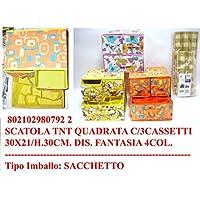 Preisvergleich für Paolo Rossi Box Leinwand Wäsche sparen cm30x21 h30 mit 3 Schubladen, in 4 verschiedenen Farben (Verfügbarkeit prüfen)