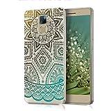 kwmobile Funda TPU silicona transparente para Huawei Honor 7 / Honor 7 Premium en marrón turquesa transparente Diseño sol azteca
