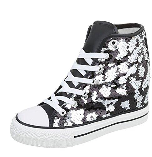 Blanco store - sneakers donna con rialzo interno e paillettes (38, nero)