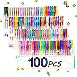 TOPERSUN Bolígrafos 100 Colores Bolígrafos de Gel Incluye Purpurina...