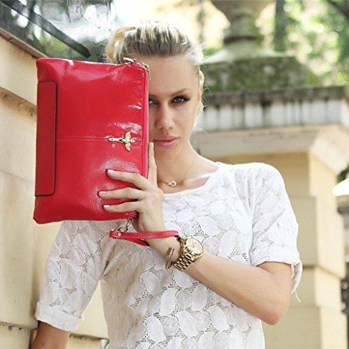 L'Europa e l'afflusso di pelle pochette in pelle donne pochette grande capacità di spalla della borsa della busta pacchetto diagonale ( Colore : Rosy Red ) Rosy Red