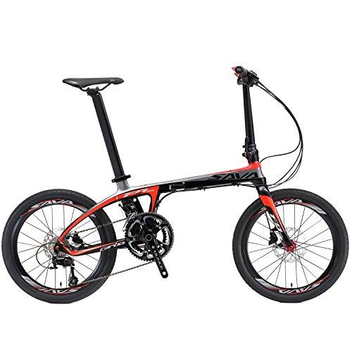 """SAVA 20\"""" Kohlefaser Die Klappfahrräder SHIMANO 105 5800 22-Geschwindigkeit Schaltzug / Bremssystem SHIMANO M315 Ölbremse Mini Compact City Bicycle (Schwarz & Rot)"""