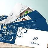 Einladungskarten 50 Geburtstag Lustig, Blütenkarte Foto 200 Karten, Kartenfächer 210x80 inkl. weiße Umschläge, Blau