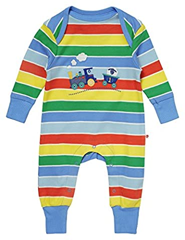 Piccalilly Rainbow Applique Train Playsuit 6-12 months