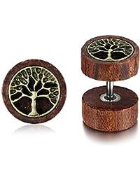 Vnox Antique Koa Wood Feuilles de Chanvre Boucles d'Oreilles Dumbbells Carr¨¦es Boucles d'oreiller Piercing pour Hommes Femmes