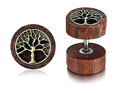 Vnox Antique Koa Wood Family Tree of Life Carved Dumbbell Stud Earrings Piercing Ear Plugs for Men Women