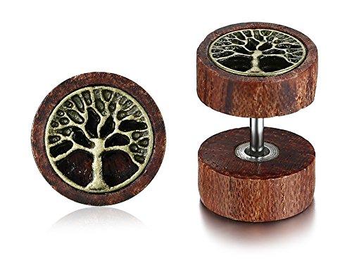 Vnox Antiguo Koa madera árbol de la familia de la vida tallada Dumbbell Stud Pendientes Piercing tapones para los hombres Mujer