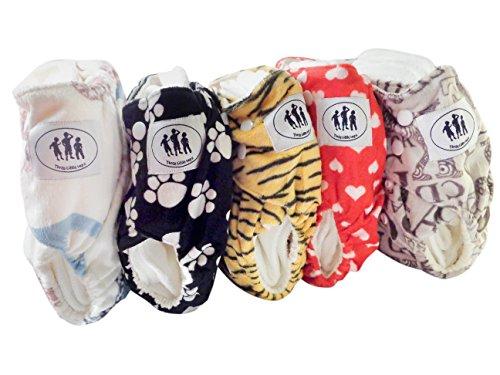 Three Little Imps pannolino di stoffa con motivi in tessuto Minky (con 1 inserto per pannolini)-Set di 5-bambine tema
